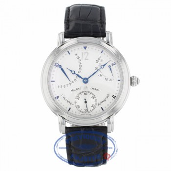 Maurice Lacroix Masterpiece Calendar Retrograde 43mm Stainless Steel Manual Wind Watch MP7068-SS001-191 XXVQP2 - Beverly Hills Watch Company