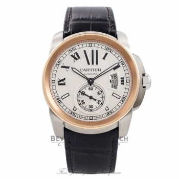 Cartier Calibre 42MM 18k Rose Gold Stainless Steel silver Dial W7100039 MIIUTD - Beverly Hills Watch Company Watch Store