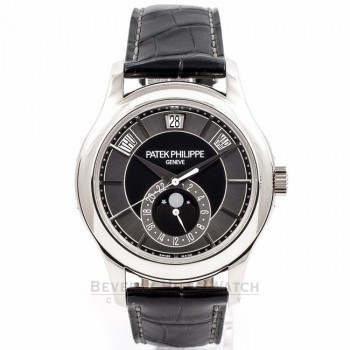Patek Philippe 5205G 40mm Annual Calendar MoonPhase 24 Hour Sub Dial White Gold Case Automatic Watch 5205 Beverly Hills Watch Company Watch Store