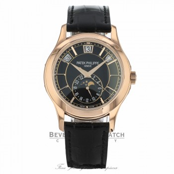 Patek Philippe Annual Calendar 40.2mm Rose Gold Black Dial 5205R-010 4E00DN - Beverly Hills Watch