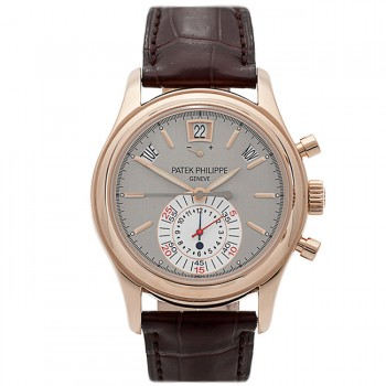 Patek Philippe Rose Gold Case Annual Calendar Chronograph Slate Dial 5960R-001 F5J4VD - Beverly hills Watch Company Watch Store