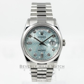 Rolex Platinum President Day Date 36mm Ice Blue Diamond Dial Watch 118206 Beverly Hills Watch Company Watches