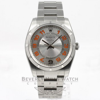 Rolex Air King 34mm Stainless Steel Oyster Bracelet Engine Turn Bezel Silver Orange Arabic Numeral Dial Watch 114200 Beverly Hills Watch Company Watches