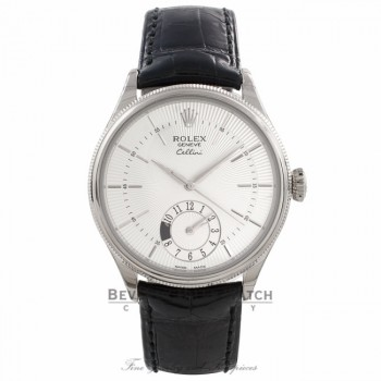 Rolex Cellini Dual Time 39MM 18k White Gold Silver Dial 50529 LUEKEM - Beverly Hills Watch Company Watch Store