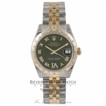 Rolex Oyster Date-Just Yellow Gold Stainless Steel Diamond Bezel Green Dial 178343 ZDXQCP - Beverly Hills Watch Store