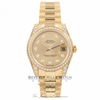Rolex DateJust 18k Yellow Gold Diamond Bezel & Case Champagne Diamond Dial 31MM 178158 - Beverly Hills Watch Company Watch Store