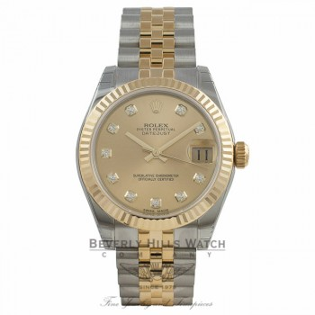 Rolex Datejust 31MM 18k Yellow Gold Stainless Steel Champagne Diamond Dial Jubilee Bracelet 178273 CK32J9 - Beverly Hills Watch Company