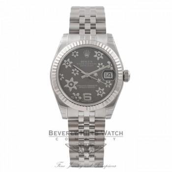 Rolex DateJust 31MM Stainless Steel & 18K White Gold Dark Rhodium Floral Dial 178274 ZCPRWQ - Beverly Hills Watch Store