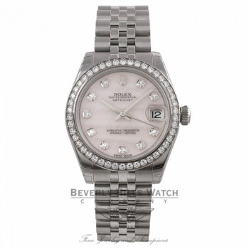 Rolex Datejust 31mm Stainless Steel White Gold Diamond Bezel Pink Mother Of Pearl Diamond Dial Jubilee Bracelet 178384 YMQP68