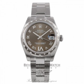 Rolex Date-Just 31MM Stainless Steel 18K White Gold Domed Bronze Diamond Dial 178344 M4WT05 - Beverly Hills Watch Company Watch Store