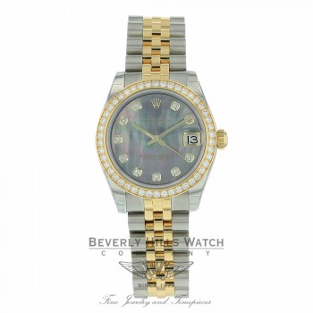 Rolex Datejust 31mm Stainless Steel 18k Yellow Gold Diamonds Bezel 178383 0YWZL8 - Beverly Hills Watch