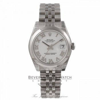 Rolex Datejust 31MM Stainless Steel White Dial Roman Numerals Jubilee Bracelet 178240 - Beverly Hills Watch Store