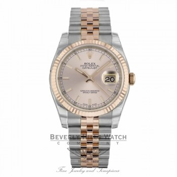 Rolex DateJust 36mm 18k Rose Gold and Stainless Steel Pink Dial 116231 VT9TA2 - Beverly Hills Watch