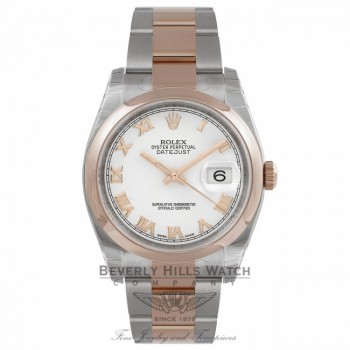 Rolex Datejust 36MM Stainless Steel 18k Rose Gold Domed Bezel White Dial Roman Numerals Markers 116201 JJ0N5A - Beverly Hills Watch Company Watch Store