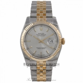 Rolex Perpetual Datejust Silver Dial Stainless Steel and 18K Yellow Gold 116233 MJXDL8 - Beverly Hills Watch Company Watch Store