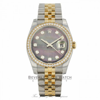 Rolex Datejust 36mm Yellow Gold Stainless Steel Diamond Bezel Black Mother of Pearl Diamond Dial 116243 - Beverly Hills Watch Company