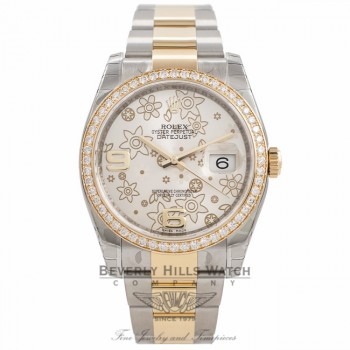 Rolex Datejust 36MM 18K Yellow Gold And Stainless Steel Diamond Bezel Silver Floral Dial 116243 VIVVXW