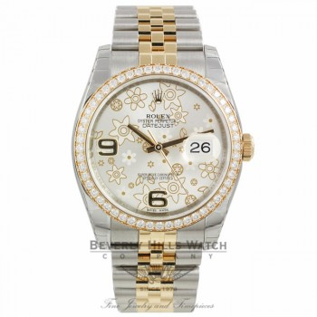Rolex Datejust 36mm Stainless Steel and Yellow Gold Diamond Bezel Silver Floral Dial 116243 YVE8JR - Beverly Hills Watch Company