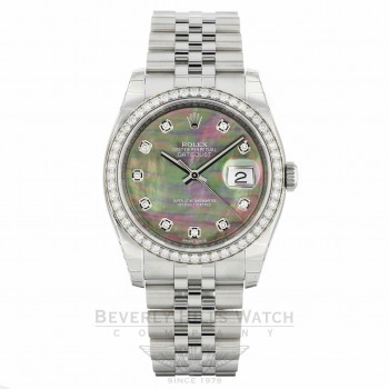 Rolex Datejust 36mm Stainless Steel Diamond Bezel Black Mother of Pearl Diamond Dial Jubilee Bracelet 116244 L4THR6 - Beverly Hills Watch Company