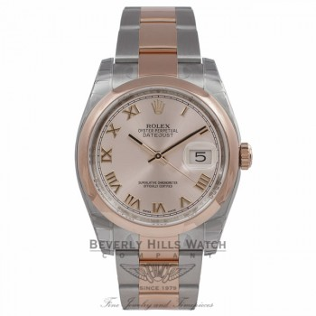 Rolex Datejust 36MM Stainless Steel Rose Gold Domed Bezel Rose Gold Champagne Dial 116201 YU6TA0 - Beverly Hills Watch Company Watch Store