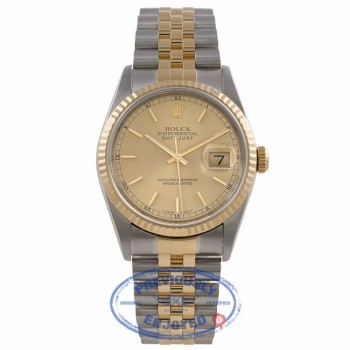 Rolex Datejust 36MM 18k Yellow Gold Stainless Steel Fluted Bezel Champagne Dial Index Markers 16233 VJ1623 - Beverly Hills Watch Company Watch Store