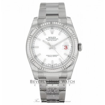 Rolex Datejust 36MM Stainless Steel 18k White Gold Fluted Bezel White Dial Oyster Bracelet 116234 TQ88X6 - Beverly Hills Watch Company