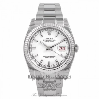 Rolex Datejust 36mm White Gold Fluted Bezel White Dial Watch 116234 KECKII - Beverly Hills Watch Company Watch Store
