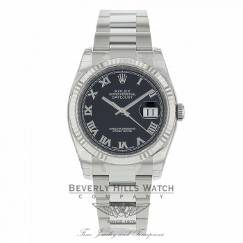 Rolex Datejust 36MM Black Roman Dial Oyster Bracelet 18k White Gold Fluted Bezel 116234 1W82Y5 - Beverly Hills Watch Company