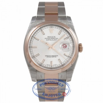 Rolex Datejust 36MM Stainless Steel 18k Rose Gold Domed Bezel Silver Dial Index Markers 116201 ZV5M20 - Beverly Hills Watch Company Watch Store
