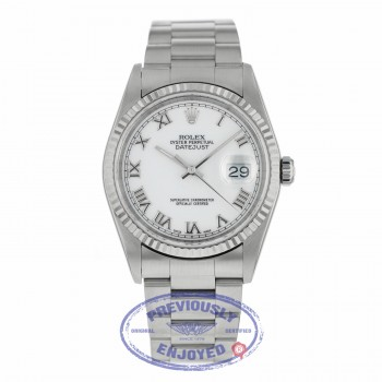Rolex Datejust 36mm Stainless Steel White Dial Silver Roman Numerals 18k White Gold Fluted Bezel Oyster Bracelet 16234 4V6A77 - Beverly Hills Watch