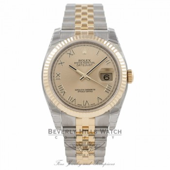 Rolex Datejust 36MM 18K Yellow Gold Stainless Steel 18k Yellow Gold Fluted Bezel Champagne Dial 116233 HFF4NZ - Beverly Hills Watch Company