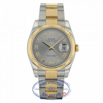 Rolex Datejust 36mm Stainless Steel and Yellow Gold Oyster Bracelet Rhodium Roman Numeral Dial Fluted Bezel 116233 YFKZE9 - Beverly Hills Watch Company