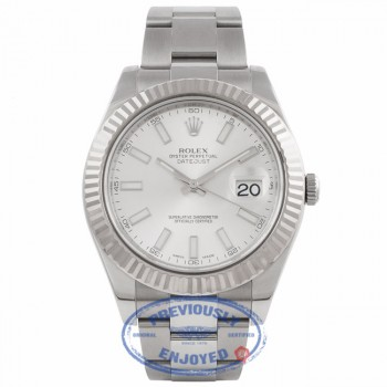 Rolex DayJust II 18k White Gold Fluted Bezel Oyster Perpetual Stainless Steel Silver Dial 116334 YHFV3Q - Beverly Hills Watch Company