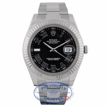 Rolex Datejust II 41mm Stainless Steel Oyster Bracelet White Gold Fluted Bezel Black Roman Dial Watch 116334 PQXF1F - Beverly Hills Watch Company