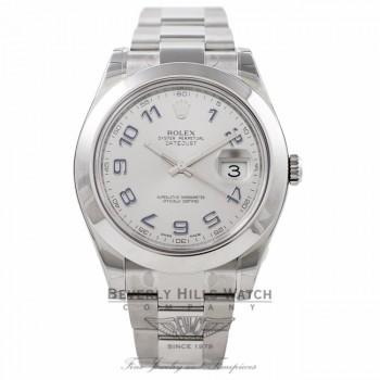 Rolex DateJust II Stainless Steel 41MM Rhodium Dial Blue Numerals 116300 3IQBZM - Beverly Hills Watch Store