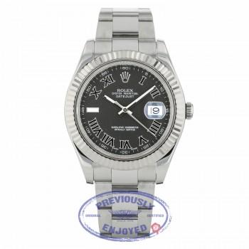 Rolex Datejust II 41mm Stainless Steel Oyster Bracelet White Gold Fluted Bezel Dark Grey Roman Dial 116334 NKPMQ9 - Beverly Hills Watch Company