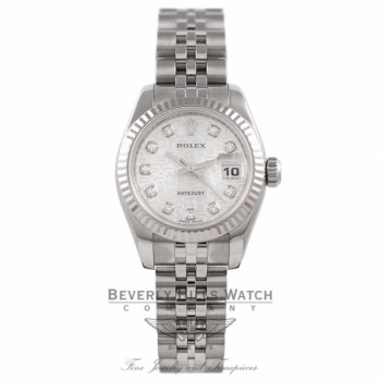 Rolex Lady Datejust 26mm Stainless Steel Silver Jubilee Diamond Dial White Gold Fluted Bezel 179174 - Beverly Hills Watch Company Watch Store