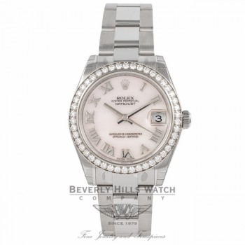 Rolex DateJust 18k White Gold Diamond Bezel Pink Mother of Pearl 31MM 178384 - Beverly Hills Watch Company Watch Store