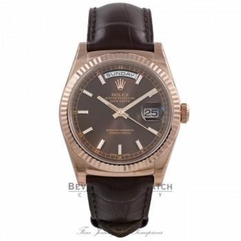 Rolex Day Date 36MM Everose Chocolate Dial Tobacco Alligator Strap 118135 WAVJJ3 - Beverly Hills Watch Store