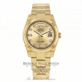 Rolex Day Date 36mm 18k Yellow Gold Champagne Diamond Baguette Dial 118208 U1DDM1 - Beverly Hills Watch