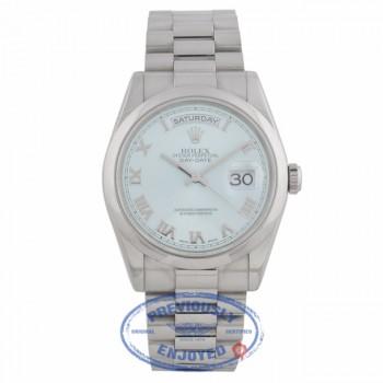 Rolex Day Date 36mm Glacier Blue Roman Dial President Bracelet 118206 9UF73R - Beverly Hills Watch Company