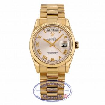 Rolex Day-Date President 36mm Everose Pink Roman Dial Fluted Bezel President Bracelet 118235 E24VM6 - Beverly Hills Watch Company