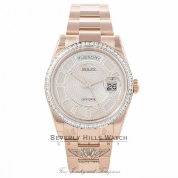 Rolex Day-Date Sertie 36MM Carrousel Mother of Pearl 18k Rose Gold Diamond Bezel 118395 4T1VQZ - Beverly Hill Watch Company Watch Store