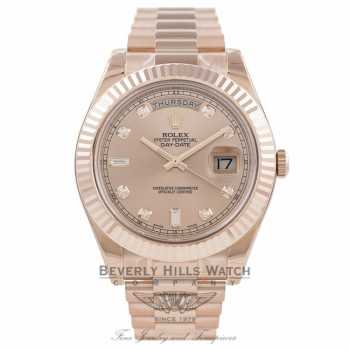 Rolex Day Date II 41mm Rose Gold President Bracelet Fluted Bezel Rose Diamond Dial 218235 NMM47Y - Beverly Hills Watch Company Watch Store