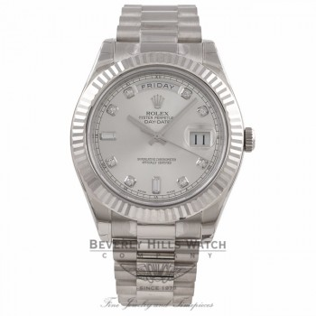 Rolex Day-Date II 18K White Gold Silver Diamond Dial Fluted Bezel President 218239 A5CMPZ- Beverly Hills Watch Company Watch Store