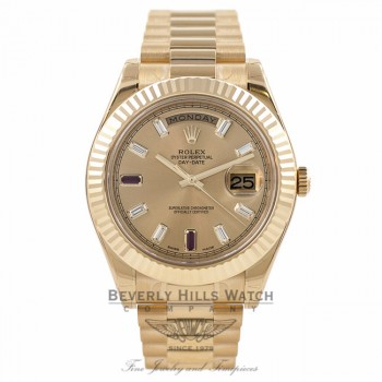Rolex Day-Date II President 41MM 18K Yellow Gold Fluted Bezel Champagne Dial 218238 YTUEQX - Beverly Hills Watch Company Watch Store