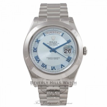 Rolex Day-Date II President 41MM Platinum Ice Blue Concentric Dial 218206 DCZLHF - Beverly Hills Watch Company Watch Store