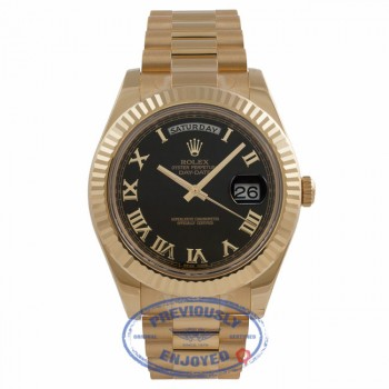 Rolex Day-Date II President 18K Yellow Gold 41MM Fluted Bezel Wave Dial 218238 C1FARN - Beverly Hills Watch Store