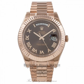 Rolex Day Date II 41mm Rose Gold President Brown Roman Fluted Bezel 218235 0TTEM1 - Beverly Hills Watch Company Watch Store