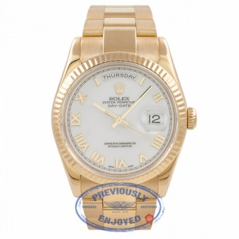 Rolex Day Date President 36mm Yellow Gold White Roman Dial Oyster Bracelet 118238 5YYQ4T - Beverly Hills Watch Company Watch Store
